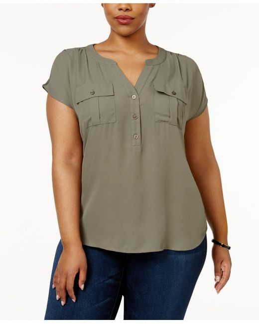 INC International Concepts | Green Plus Size Short-sleeve Blouse | Lyst