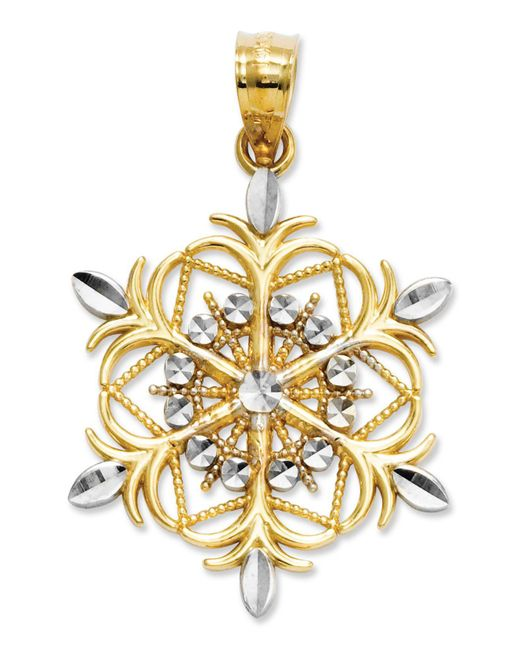 Macy's - Metallic 14k Gold And Sterling Silver Charm, Snowflake Charm - Lyst