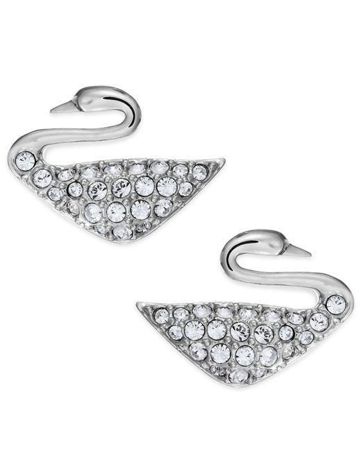 Swarovski   Metallic Rhodium-plated Crystal Swan Stud Earrings   Lyst