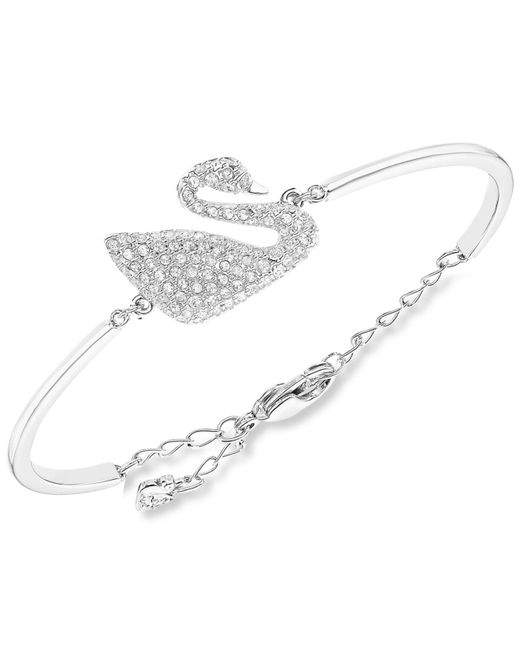 Swarovski | Metallic Rhodium-plated Crystal Swan Bangle Bracelet | Lyst