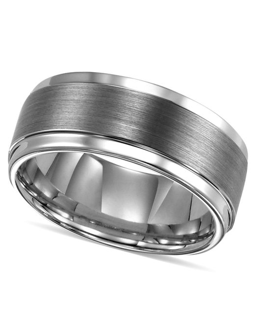 Triton - Metallic Ring, Tungsten Carbide Comfort Fit Wedding Band 9mm Band for Men - Lyst