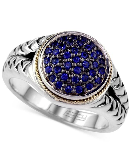 Effy Collection - Metallic Sapphire (3/8 Ct. Tw.) And Diamond (1/8 Ct. T.w.) Rope Ring In Sterling Silver And 18k Gold - Lyst
