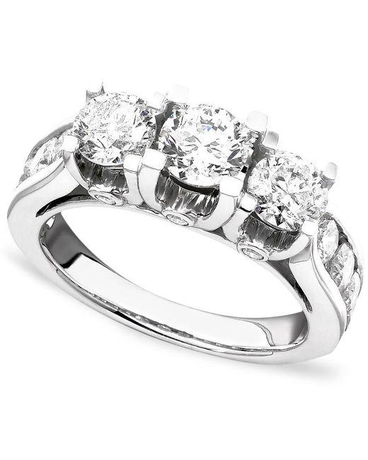 Macy's Diamond Ring In 14k White Gold (3 Ct. T.w.) In