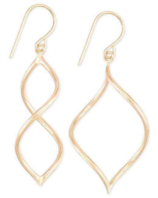 Macy's - Metallic Twisted Wire Drop Earrings In 10k Gold - Lyst