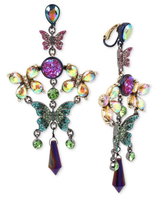 Betsey Johnson   Multicolor Hematite-tone Crystal Butterfly Chandelier Earrings   Lyst