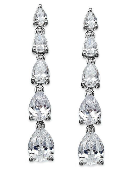 Arabella | Metallic Swarovski Zirconia Graduated Linear Earrings In Sterling Silver (8 Ct. T.w.) | Lyst