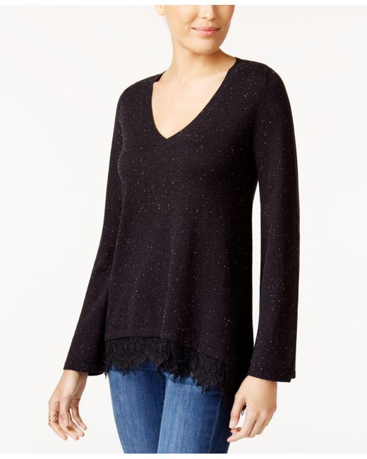 Style & Co. | Black Lace-trim Sweater | Lyst