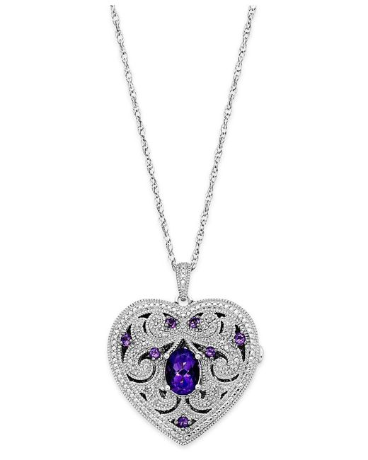 Macy's | White Amethyst (1 Ct. T.w.) And Diamond (1/10 Ct. T.w.) Heart Locket Necklace In Sterling Silver | Lyst