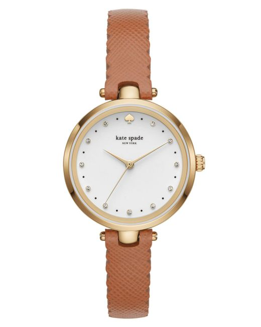 145395c7fe5 Lyst - Kate Spade Women s Holland Brown Leather Strap Watch 34mm in ...