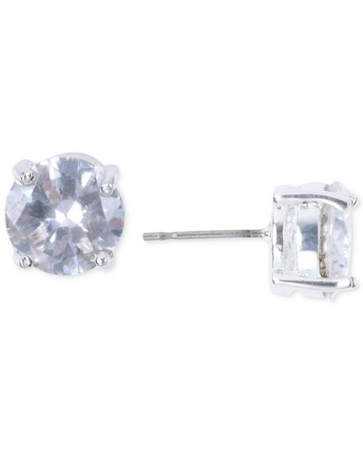 Nine West | Metallic Silver-tone Crystal Stud Earrings | Lyst