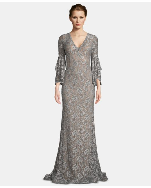 e072403b688 Betsy   Adam - Gray Embellished Lace Bell-sleeve Gown - Lyst ...