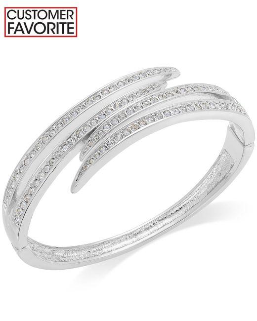 Charter Club | Metallic Silver-tone Crystal Pavè Bypass Bracelet | Lyst