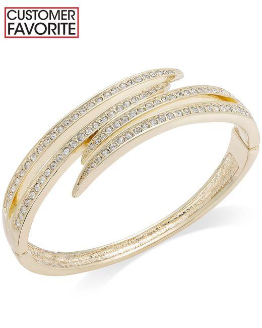 Charter Club | Metallic Gold-tone Crystal Pavè Bypass Bracelet | Lyst