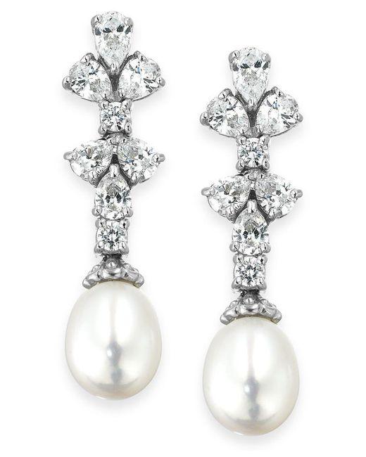 Arabella | Metallic Bridal Cultured Freshwater Pearl (8mm) And Swarovski Zirconia (1-3/4 Ct. T.w.) Earrings In Sterling Silver | Lyst