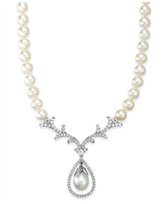 Arabella | Metallic Cultured Freshwater Pearl (8mm) And Swarovski Zirconia Necklace In Sterling Silver | Lyst