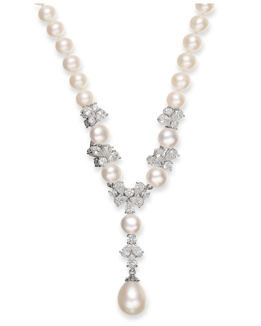 Arabella | Metallic Cultured Freshwater Pearl (7-12mm) And Swarovski Zirconia (7-3/4 Ct. T.w.) Y-shaped Necklace In Sterling Silver | Lyst