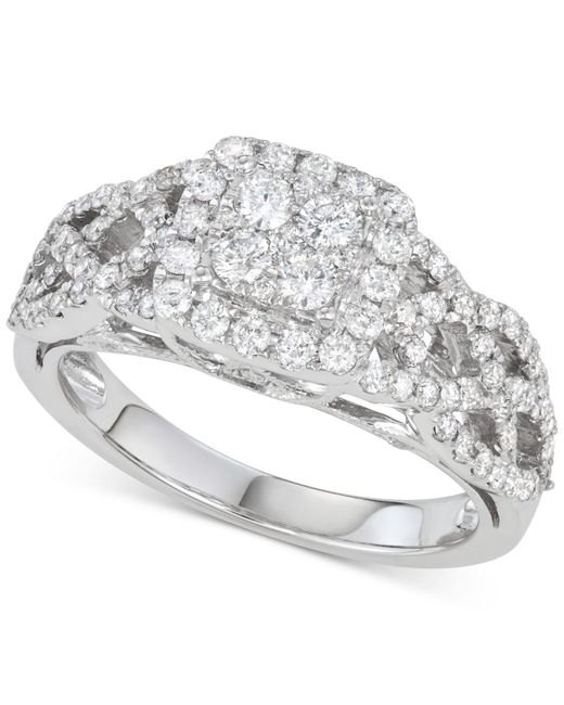 Macy's - Metallic Diamond Braided Cluster Engagement Ring (1 Ct. T.w.) In 14k White Gold - Lyst