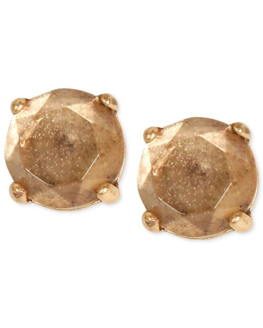 Lucky Brand | Metallic Gold-tone Bronze Crystal Stud Earrings | Lyst