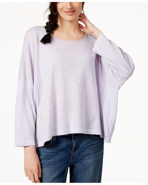 Eileen Fisher - Purple Organic Linen Top - Lyst
