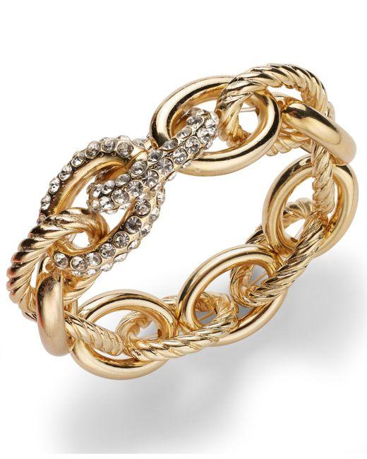 INC International Concepts | Metallic Rose Pave Link Stretch Bracelet | Lyst