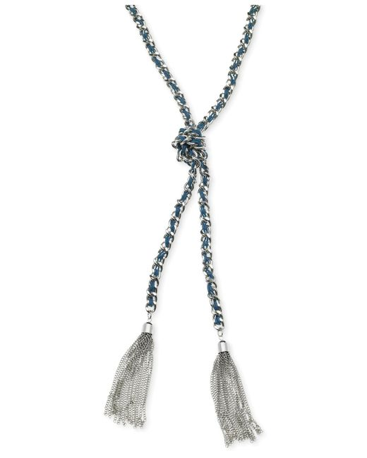 Guess | Metallic Silver-tone Woven Blue Twisted Tassel Necklace | Lyst