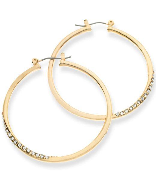 Guess | Metallic Gold-tone Crystal Pavé Hoop Earrings | Lyst