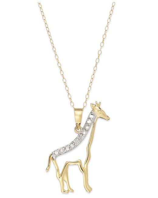 Macy's   Metallic Diamond Giraffe Pendant Necklace In 18k Gold Over Sterling Silver (1/10 Ct. T.w.)   Lyst
