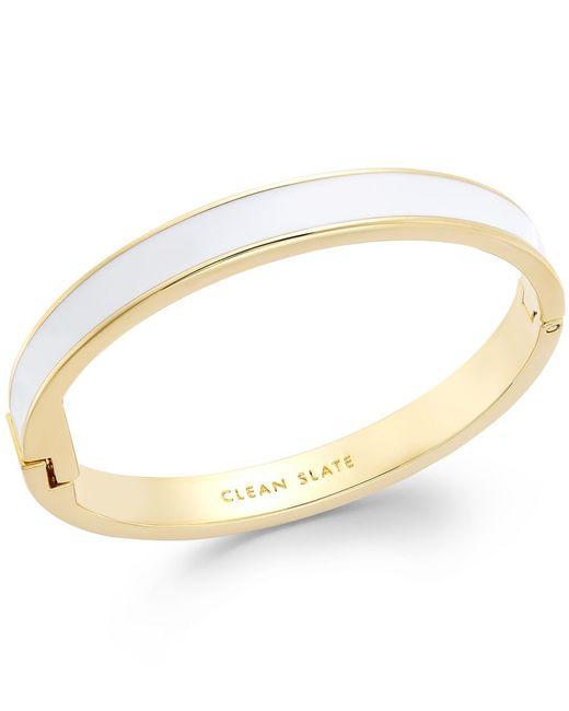 kate spade new york   Gold-tone White Clean Slate Idiom Bangle Bracelet   Lyst