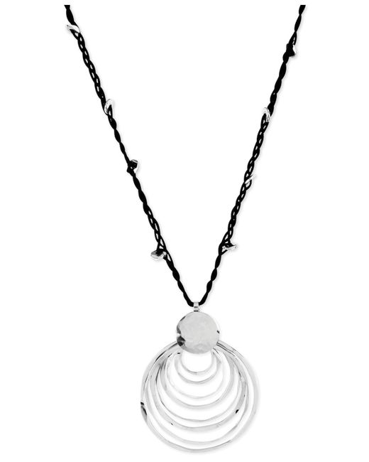 Robert Lee Morris | Metallic Silver-tone Black Cord And Hammered Ring Pendant Necklace | Lyst
