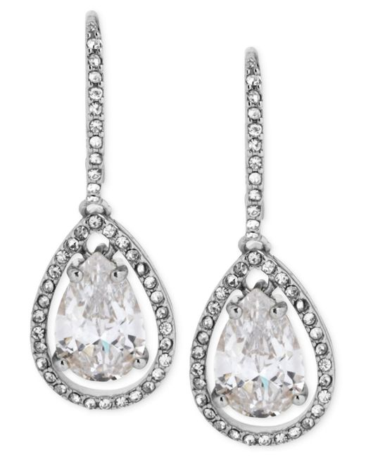 Betsey Johnson   Metallic Silvertone And Cubic Zirconia Teardrop Earrings   Lyst