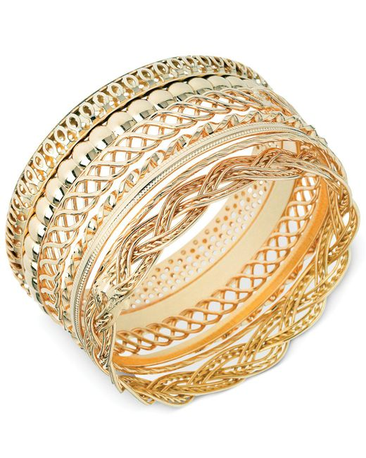 Guess | Metallic Textured Bangle Bracelet Set | Lyst