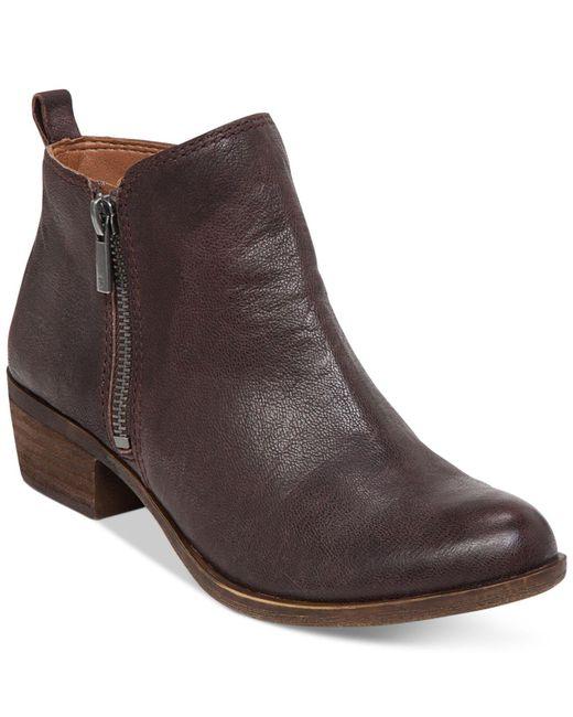 Lucky Brand | Brown Basel Zip Up Booties | Lyst