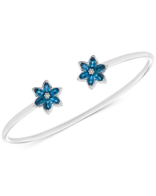 Macy's - London Blue Topaz (1-1/5 Ct. T.w.) & Diamond Accent Flower Cuff Bracelet In Sterling Silver - Lyst