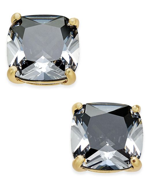Kate Spade - Black Gold-tone Aqua Crystal Stud Earrings - Lyst