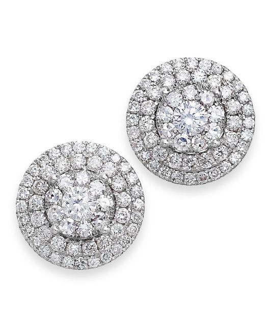 Macy's | Diamond Cluster Earrings In 14k White Gold (2 Ct. T.w.) | Lyst