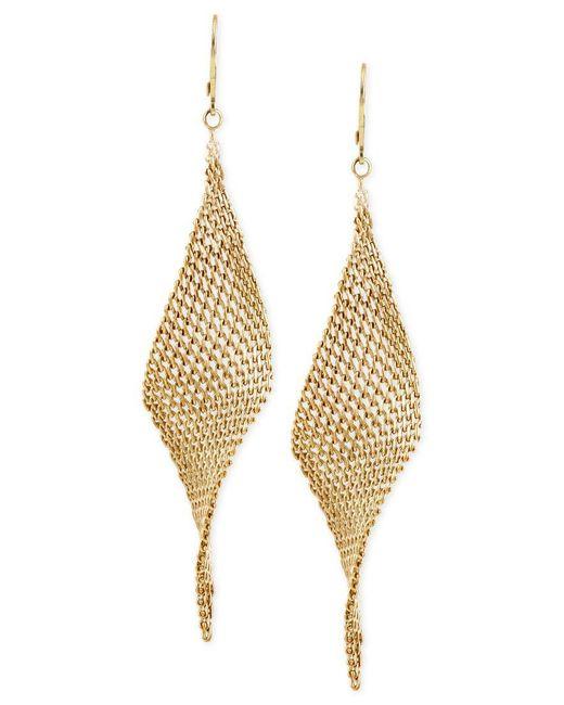 Kenneth Cole   Metallic Mesh Twist Drop Earrings   Lyst