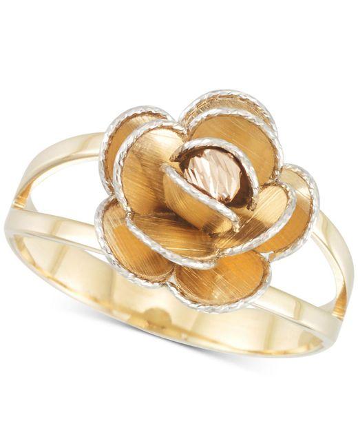 Macy's - Metallic Tri-colour Flower Split Shank Ring In 14k Gold, White Gold & Rose Gold - Lyst
