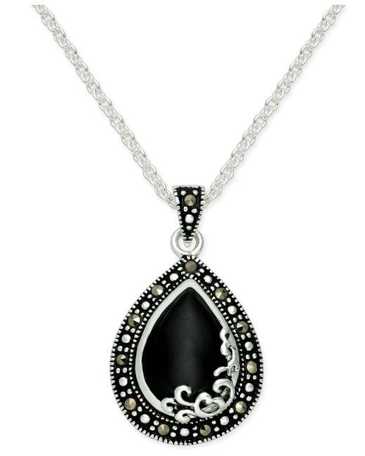 Macy's - Black Onyx (1-9/10 Ct. T.w.) & Marcasite Drop Earring In Fine Silver-plate - Lyst