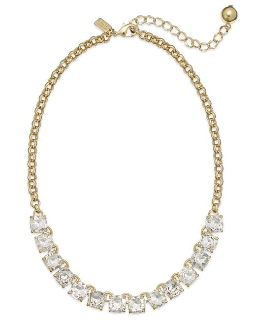 kate spade new york | Metallic Gold-tone Crystal Frontal Necklace | Lyst