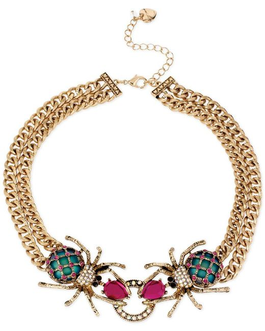 Betsey Johnson | Metallic Gold-tone Spider Frontal Necklace | Lyst