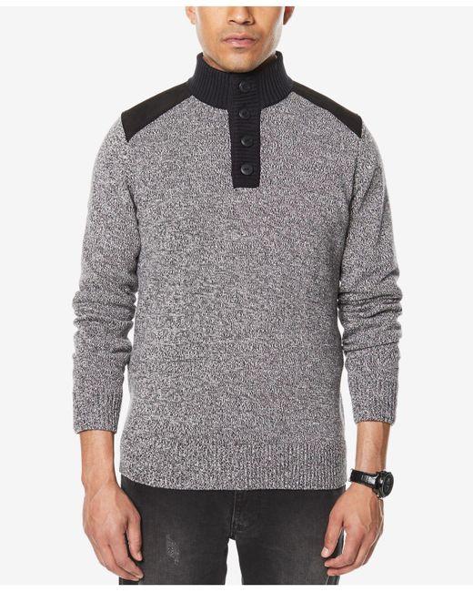 Sean John | Gray Men's Marled Henley Sweater for Men | Lyst