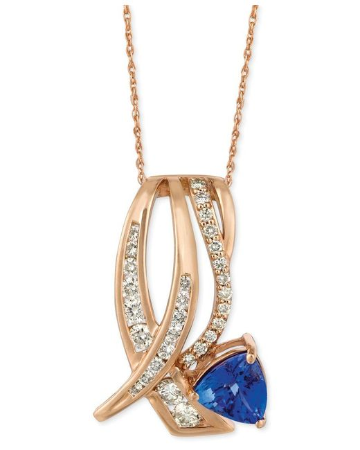 "Le Vian | Metallic Tanzanite (1 Ct. T.w.) And Diamond (5/8 Ct. T.w.) 18"" Pendant Necklace In 14k Rose Gold 