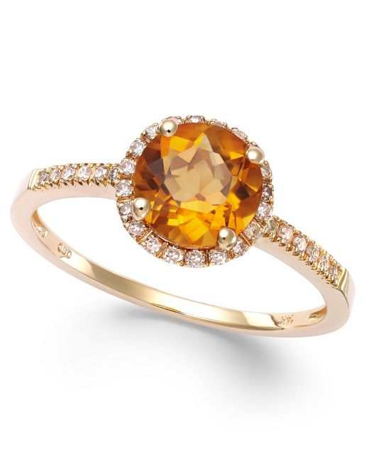 Macy's | Metallic Citrine (1-1/5 Ct. T.w) And Diamond (1/8 Ct. T.w.) Round Ring In 14k Gold | Lyst