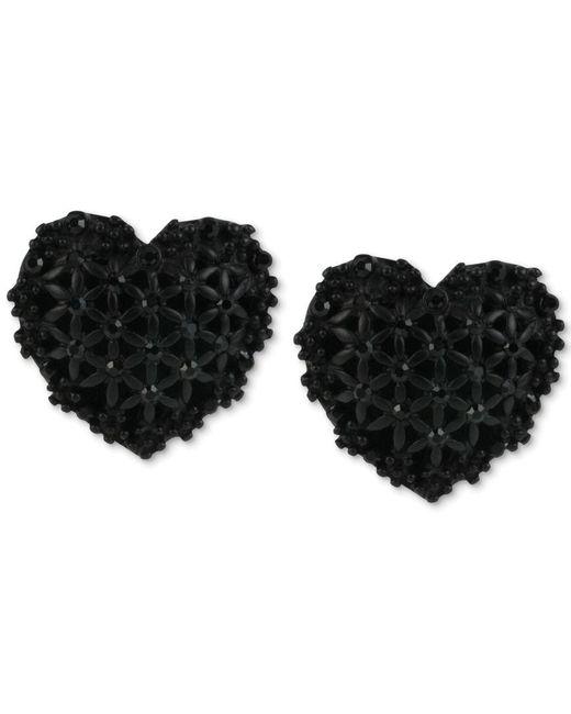 Betsey Johnson | Black Heart Button Stud Earrings | Lyst