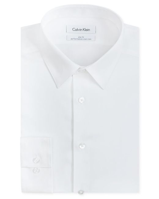 Calvin Klein | White Steel Men's Slim-fit Non-iron Performance Herringbone Dress Shirt for Men | Lyst
