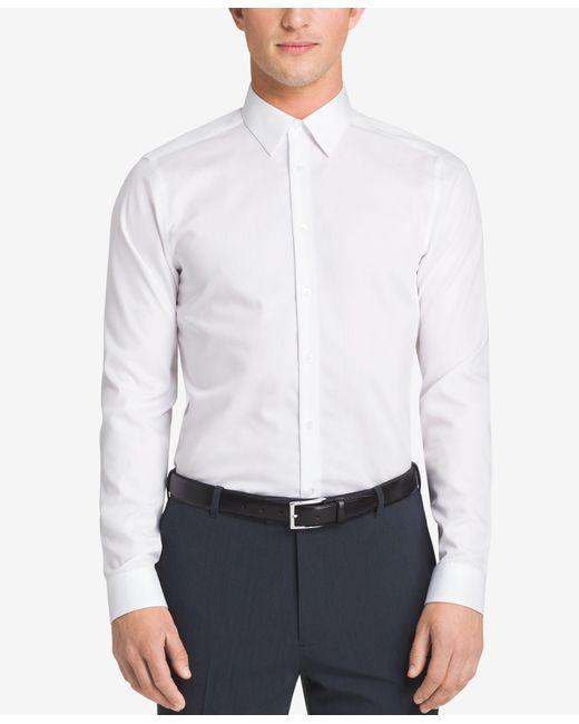 Calvin Klein   White Steel Men's Slim-fit Non-iron Performance Herringbone Dress Shirt for Men   Lyst