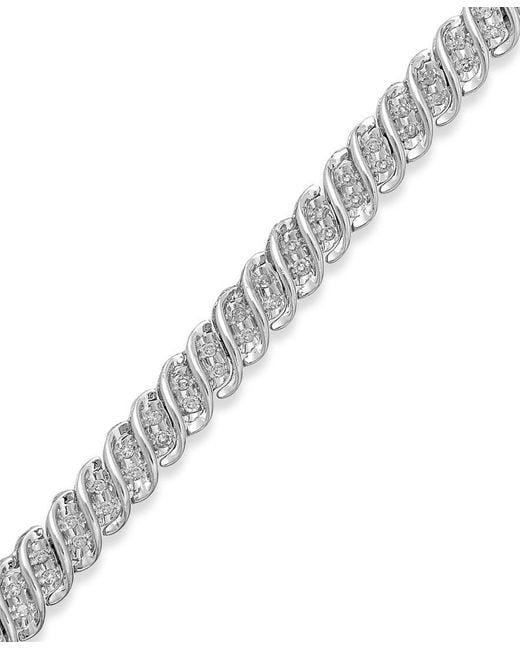 Macy's | Multicolor Diamond S-link Bracelet In 10k Gold Or White Gold (1/2 Ct. T.w.) | Lyst