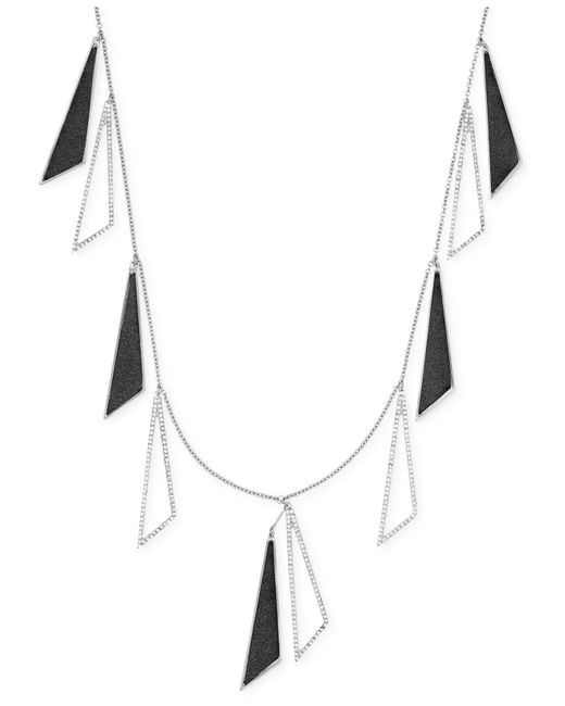 ABS By Allen Schwartz | Metallic Silver-tone Triangle Drop Scatter Station Necklace | Lyst