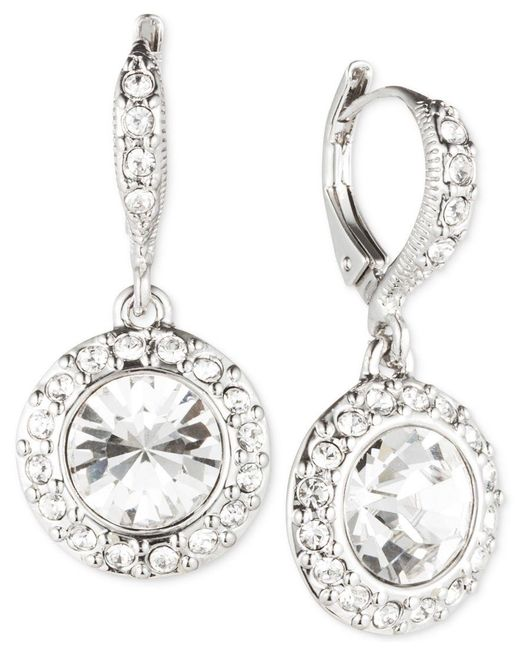 Givenchy | Metallic Rhodium-plated Crystal Round Drop Earrings | Lyst