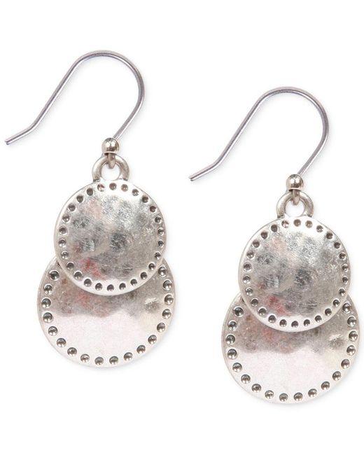 Lucky Brand   Metallic Silver-tone Double Drop Earrings   Lyst